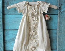 Dupioni silk baby girl baptism DRESS, Layla's Lace in antique ivory with lace, custom newborn to 12 months vintage inspired