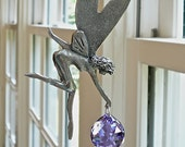 """Fairy Suncatcher - Pewter and Swarovski Crystal Available in 14 Colors, For Sunroom, Child's Room or Any Sunny Window - """"MARY THE FAIRY"""""""