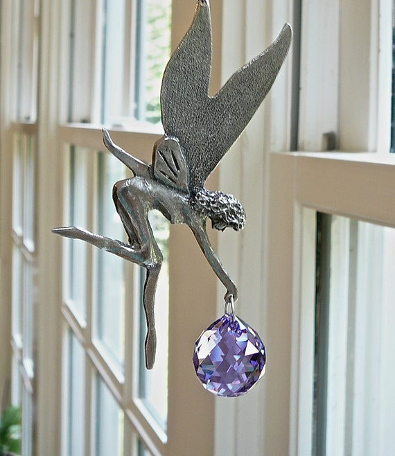 "Fairy Suncatcher - Pewter and Swarovski Crystal Available in 14 Colors, For Sunroom, Child's Room or Any Sunny Window - ""MARY THE FAIRY"""