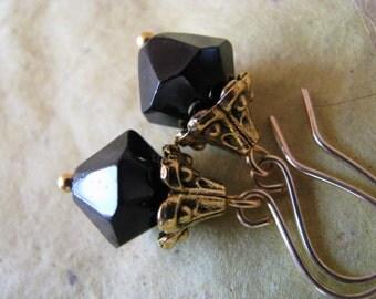 Faceted Black Crystal Drop Earrings