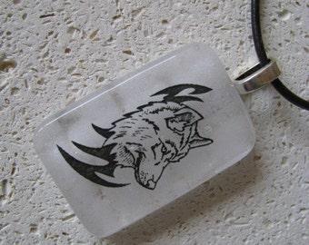 Dog Pendant , Wolf Necklace , Husky Pendant,  Fused Glass Pendant, White and Black Fused Glass Pendant,