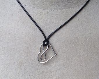 Infinite Love symbol and Heart on black silk cord