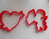 Set of 2 Vintage Valentines Day Large Red Hard Plastic Cookie Cutters Heart with Arrow and Cupid