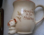 Vintage Pottery mug reads Friendship is for sharing little koala bear figure on front