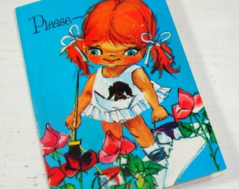 Vintage Please Get Well Card, Retro, Big Eyes, Bright Colors, Unused Greeting Card With Envelope, No. 1 (369-14)