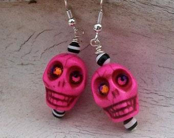 SKULL Earrings Hot Pink Stone Bead