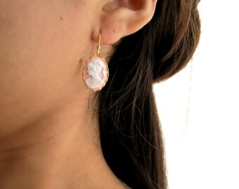 Delicate Pink 18kt Cameo Earrings