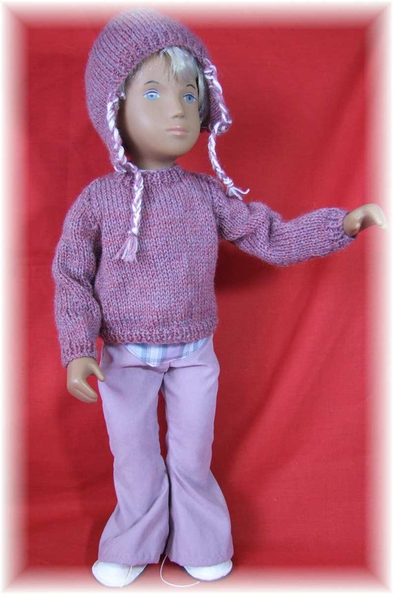 Knitting Pattern Girl Sweater : Knitting Pattern for a Sweater and Earflap hat for