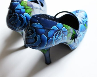 Hand painted heels - Blue Roses, FOR LOUSIA