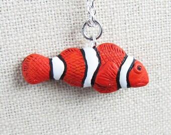 Clownfish Ceramic Necklace - clown fish, nemo fish (R3A)