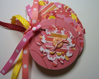 Pink, Yellow and Red Mini Flower Scrapbook Album, Mini Flower Album, Mini Flower Scrapbook, Flower photo album, flower brag book