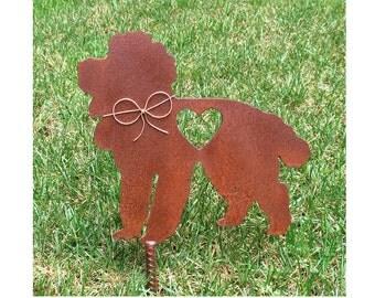 Poodle Dog Metal Garden Stake - Metal Yard Art - Metal Garden Art - Pet Memorial 2