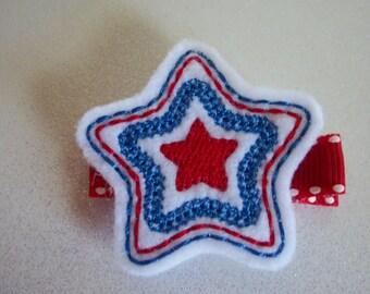 Fourth of July Hair Clip, Patriotic Felt Star Hair Clip, 4th of July Red White Blue Star Hair Bow, Girl's Summer Hair Clip (Item 14-086)