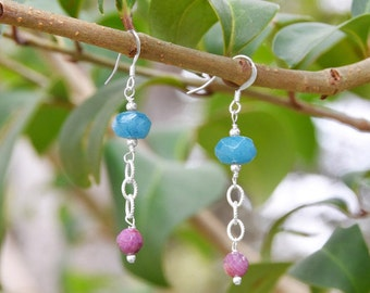 Blue Quartz and Ruby Drop Handcrafted French Wire Earrings, Hand Made Earrings, French Wire Earrings, Hand Crafted Earrings, Fancy Earrings