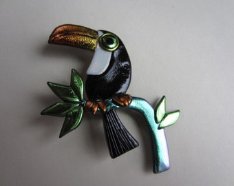 Toucan on a branch Tropical Bird Pin Brooch