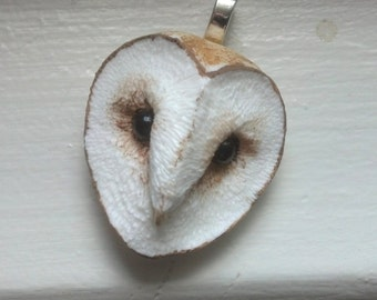 Barn Owl Sculpture Pendant Necklace