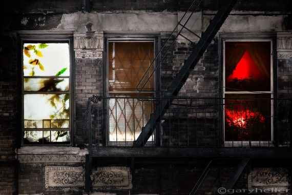 Life Learning and Love, Three Windows at Night, Voyeurism, Window Dressing tell a story. Signed photography print
