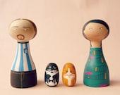 FREE SHIPPING Custom Family Portrait of 4 Portrait Dolls children or pets - Personalized - black orange cat football shirt
