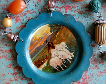 Country Living-Antique Vintage Miniature Pastoral Scene Tin Plate Assemblage Necklace