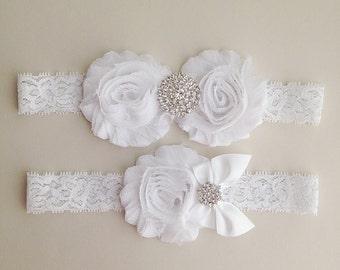 White Lace Garter Set - Vintage White Bridal Garter with Toss Garter