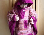 Sweet Hilda Little Girls Whimsical Hooded Poncho KNITTING PATTERN PDF