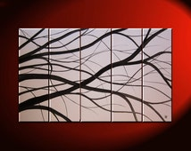 Black and White Tree Branches Painting Large Art Modern Abstract HUGE Elegant Original Monochrome 40x24