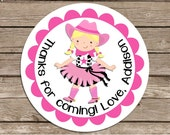 Cowgirl in Tutu - address or name or party stickers--choose brunette or blonde--choose size--choose glossy or matte