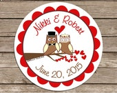Bride N Groom Owl wedding stickers--favor stickers, envelope seals, address labels, many uses--choose size--gloss or matte