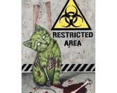 Nice Kitty ACEO Print Gothic Halloween ZOMBIE Cat Artist Trading Cards ATC Fantasy Art Horror Biohazard Blood Creepy Cute