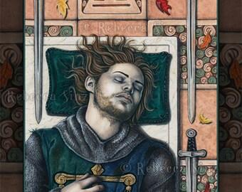 IV of Swords 8.5 x 11 Print Tarot Medieval Knight