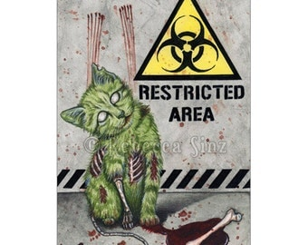 Nice Kitty ACEO Print Gothic Halloween ZOMBIE Cat Artist Trading Cards ATC Fantasy Art Horror Biohazard Blood Creepy Cute