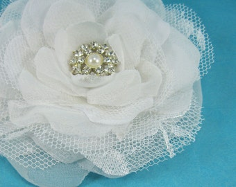Bridal Hair Flower  White Lace, Organza and Tulle Rose Hair Clip K252, bridal hair accessory