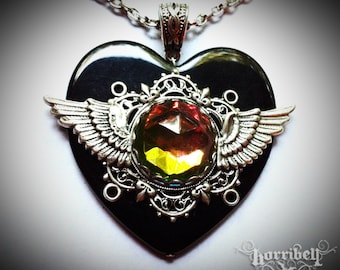 Vitrail Black Heart Galaxy Necklace - Gothic Necklace - Steampunk