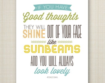 roald dahl printable 8x10 children's poster - good thoughts and sunbeams.