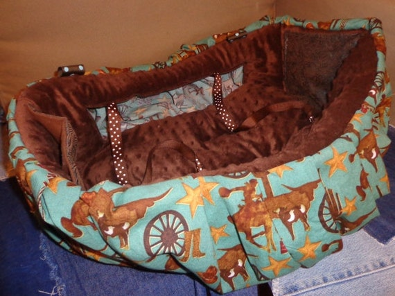 Shopping Cart Cover Toddler or Baby Turquoise Cowboy Cowgirl Brown Minky Minkee Dot Seat