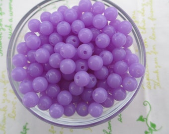 Round acrylic Beads 50pcs Size 8mm Lilac purple Lavender