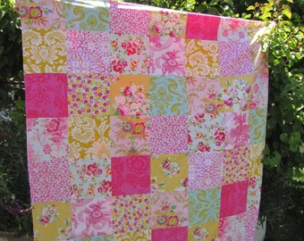 56X64 Pink & Yellow Jennifer Paganelli Patchwork and Minky Blanket Made to Order