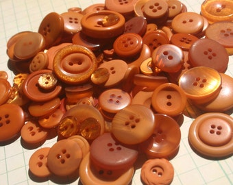 Dark Orange Buttons - Bulk Round Sewing Button - 100 Buttons - Rust