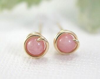 Tiny pink candy jade post earrings 14k gold filled wire wrapped earrings light pink gemstone earrings pale pink earrings second piercing 5mm