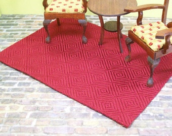 Maroon Cube Rug Carpet Diamond 1:12 Dollhouse Miniatures Scale Artisan