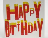 Letterpress Overprint Card - Happy Birthday Red & Yellow