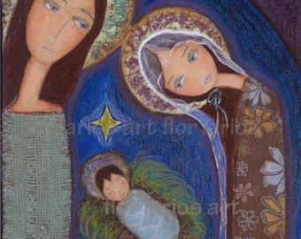 Holy Night Nativity -   Giclee print mounted on Wood ( 8 x 8 inches) Folk Art  by FLOR LARIOS