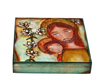 Saint Joseph with Child -  Giclee print mounted on Wood (8 x 8 inches) Folk Art  by FLOR LARIOS