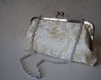 Handmade Gold Floral Clutch, Convertible with Chain Strap