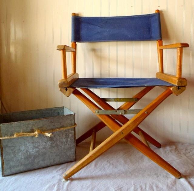 Vintage Teak Maple Wood Folding Chair Canvas