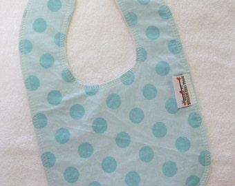 Aqua Dots Drooler Bib - Snap - Non wicking fleece back - Middle layer Organic cotton