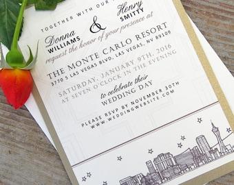 Roaring 1920's Gatsby Inspired Wedding Invitations - (100) City Skyline Cards - A7 sized (5 x 7)