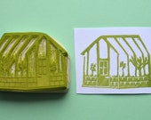 greenhouse hand carved rubber stamp, handmade rubber stamp