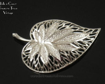 Brilliant Pierced Silvertone Leaf Brooch Signed Coro