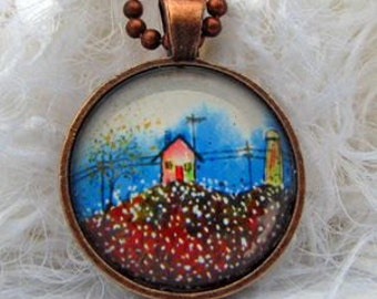 Cotton Pickin Time,  Art Pendant and Necklace. Created with an exclusive Shelley Roze image.